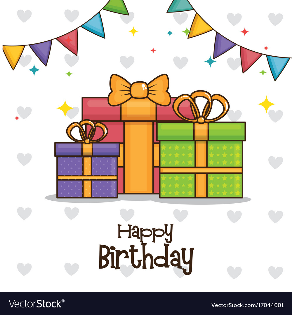 Happy Birthday Gifts Design Vector Image