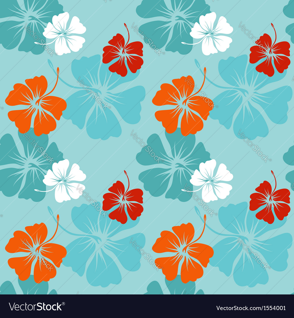 Hibiscus pattern in blue