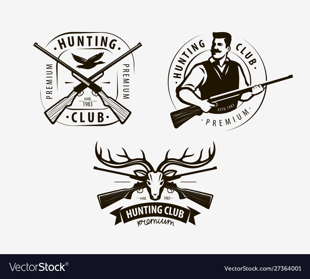 Hunting club set labels hunt logo icon