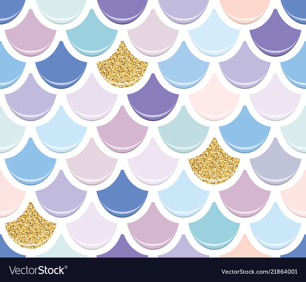 Mermaid tail seamless pattern with gold glitter