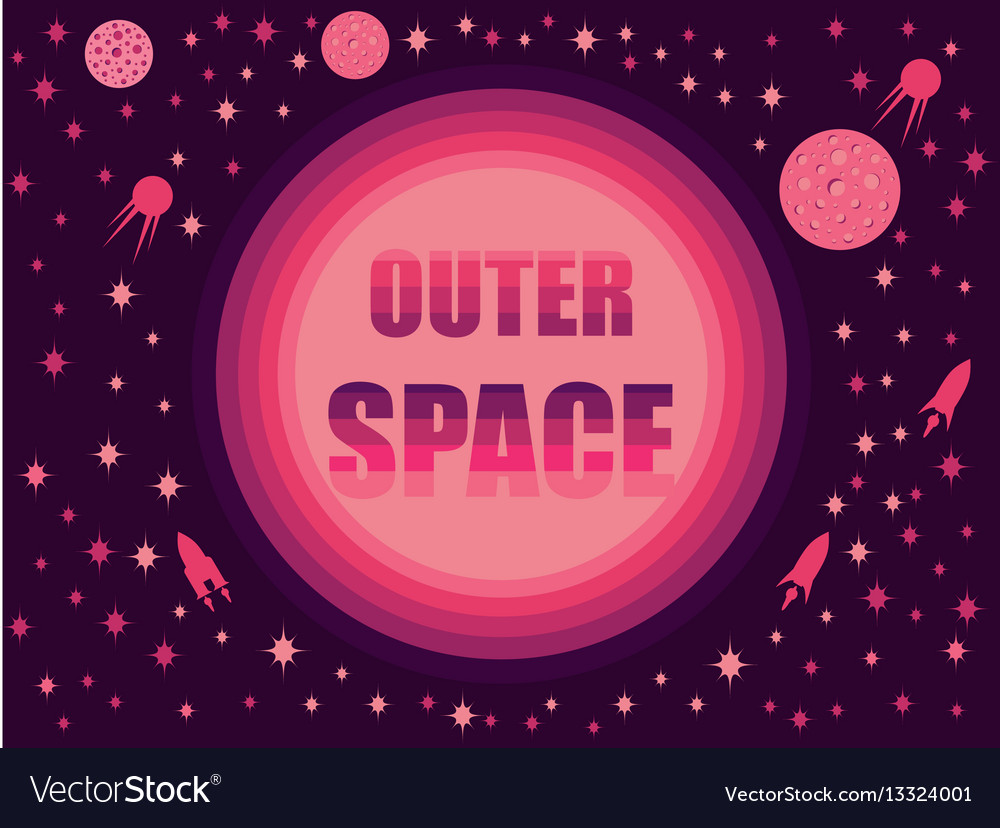 Outer space in 80s retro style space travel