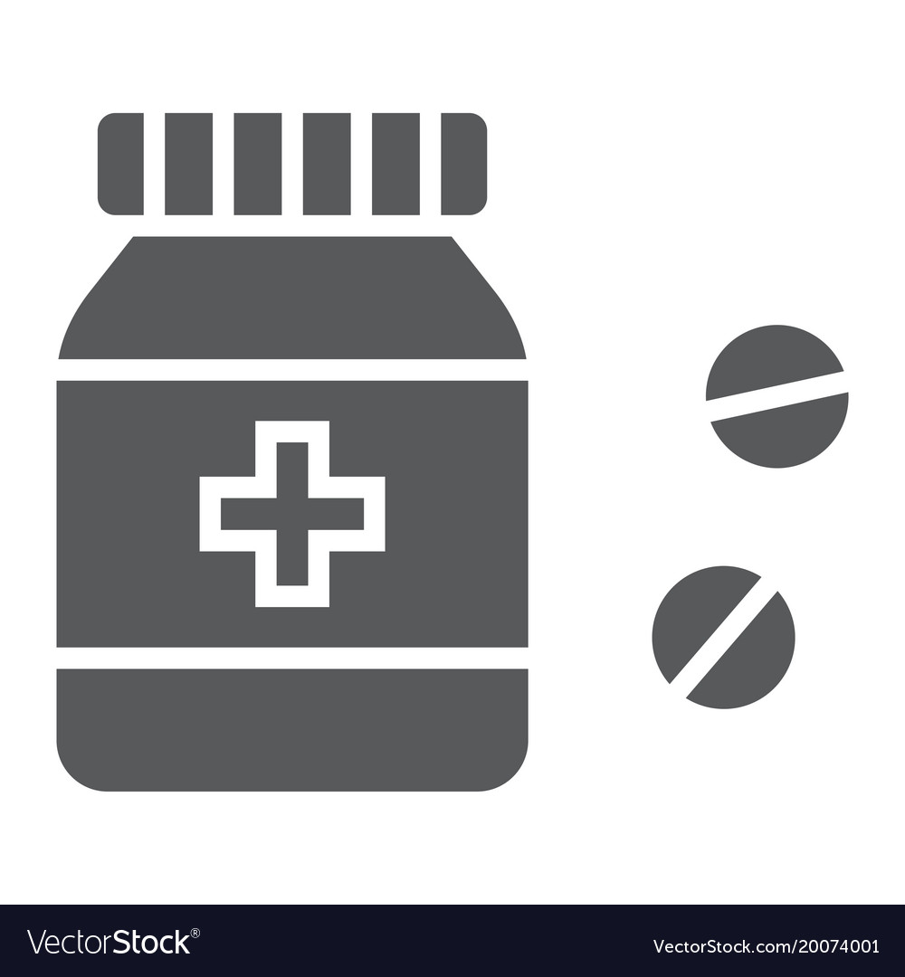 Pills bottle glyph icon medical and healthy