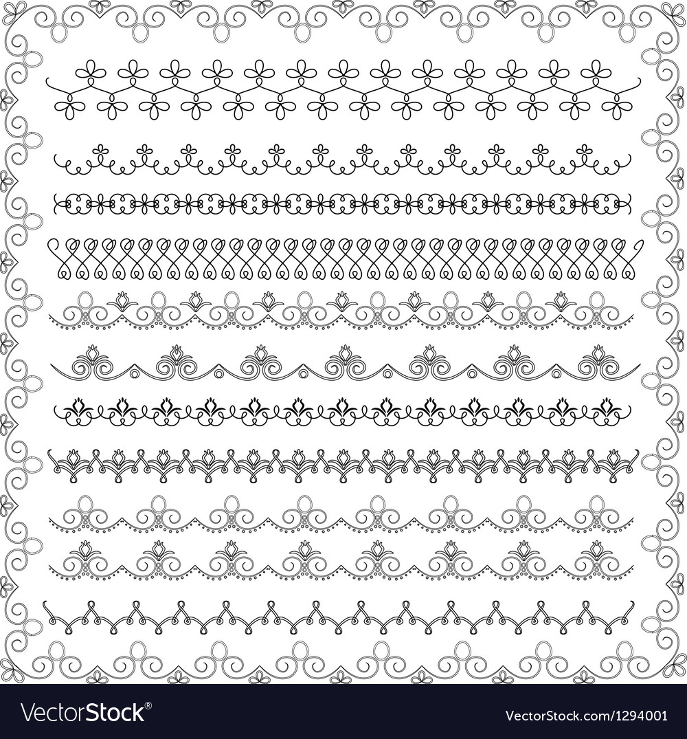 Set of lace border vector image