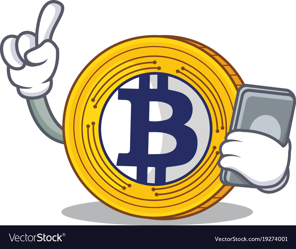 With Phone Bitcoin Gold Character Cartoon Vector Image