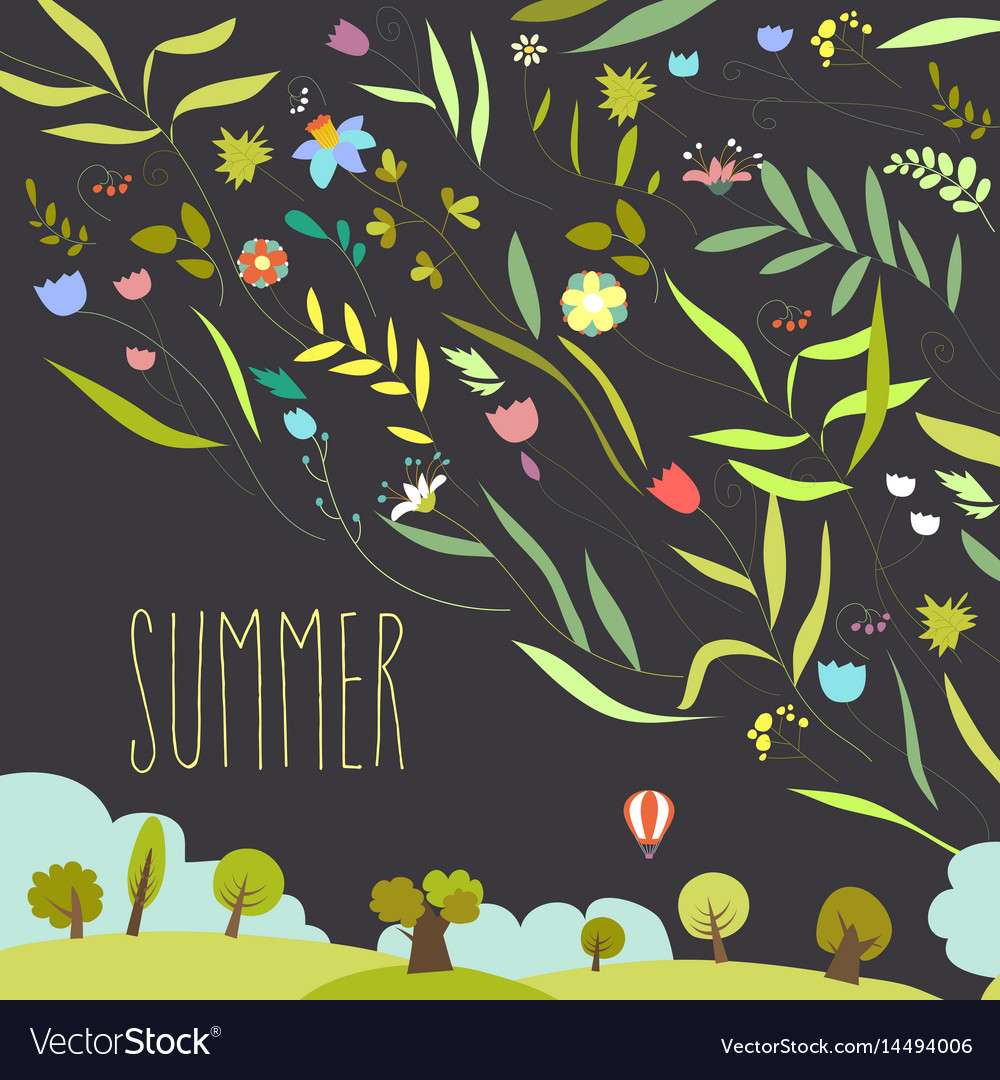 Blooming Flowers With Summer Landscape Royalty Free Vector
