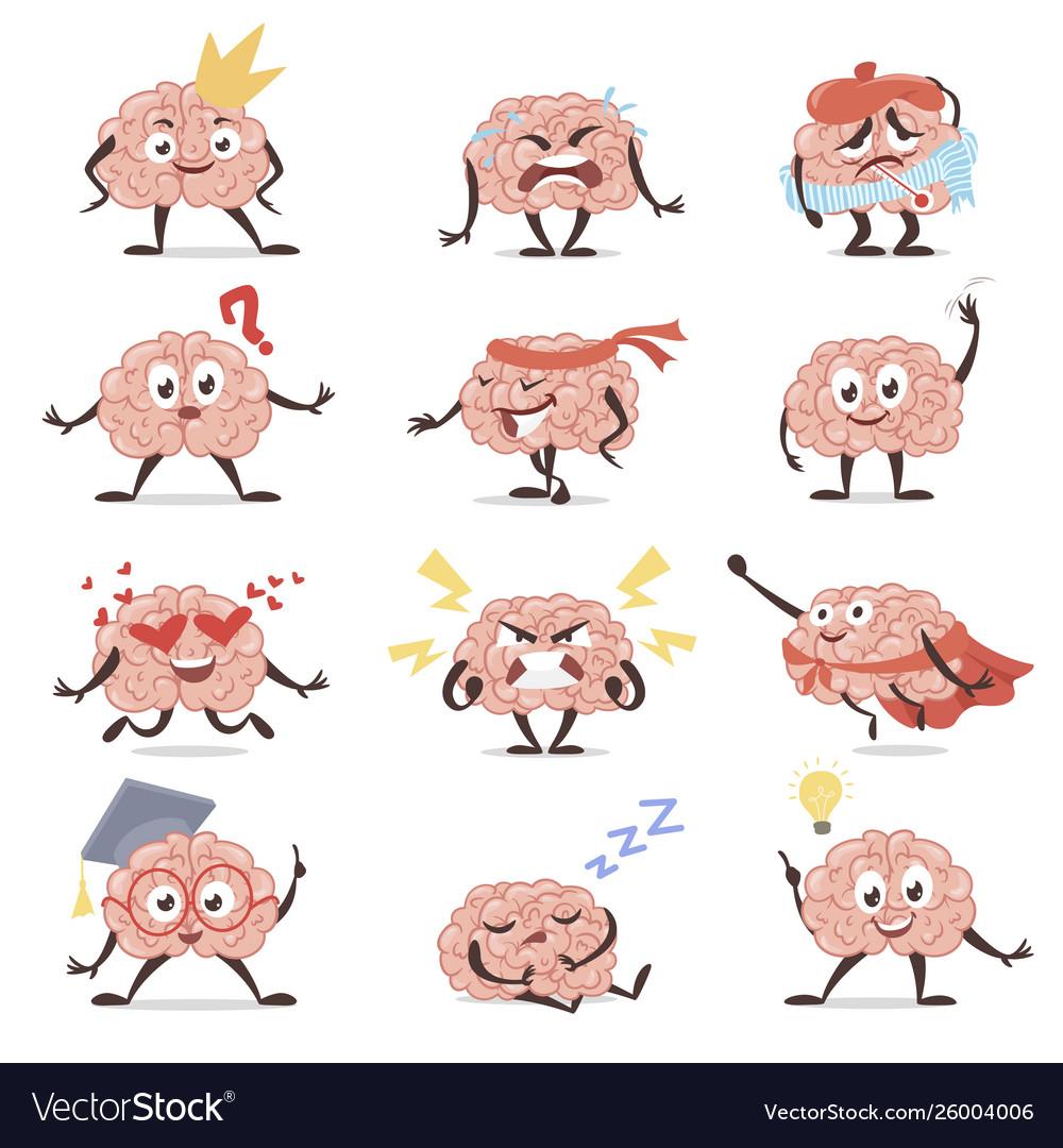Brain emotions cartoon set education and