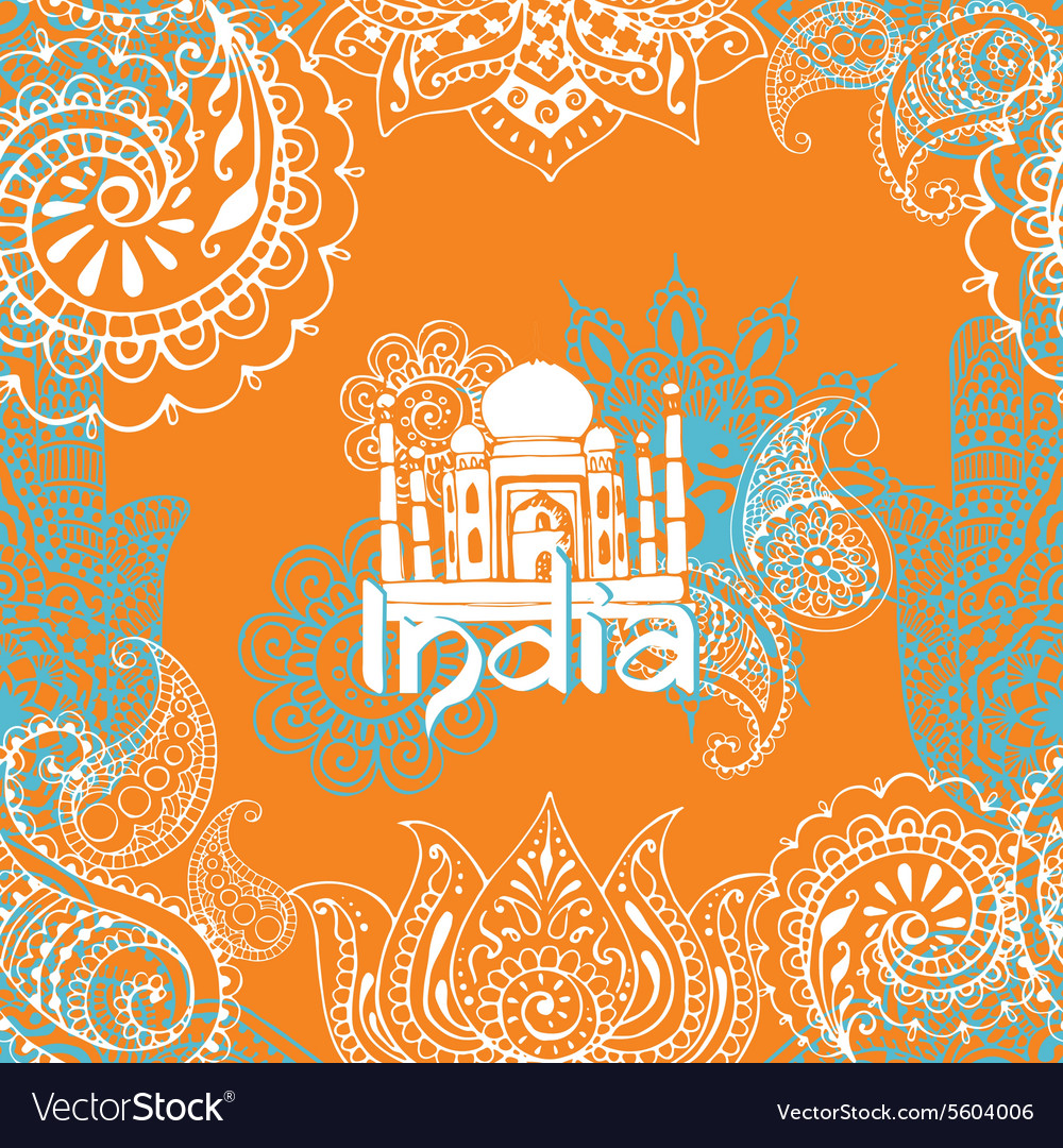 Bright background with Indian patterns vector image