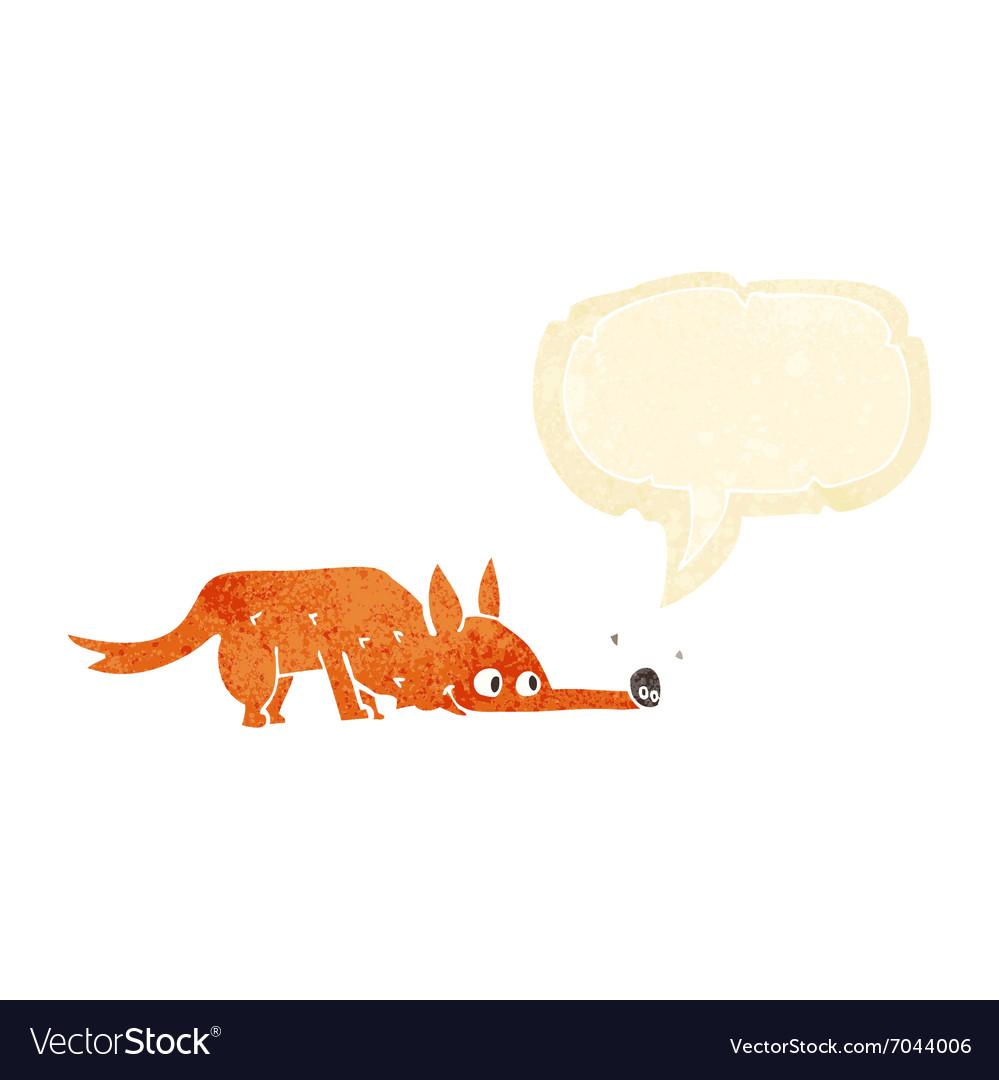 Cartoon fox sniffing floor with speech bubble