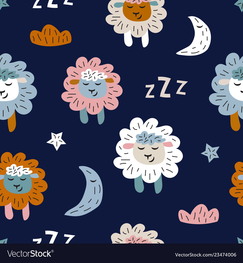 Childish seamless pattern with cute sheeps