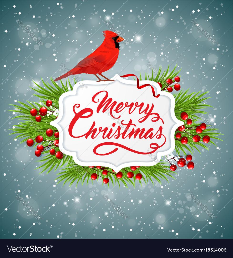 Christmas Cardinals Images.Christmas Banner With Red Cardinal Bird