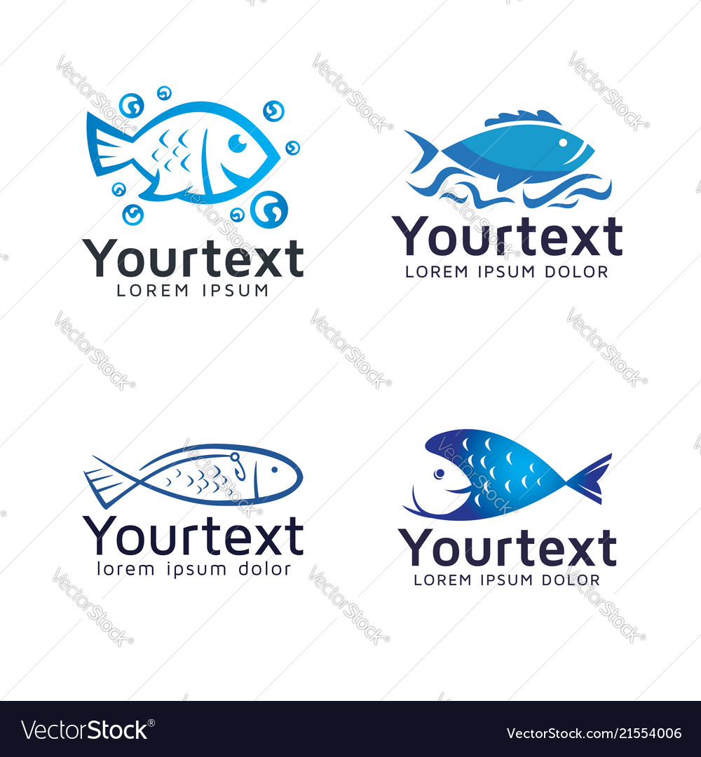 Collection of fish logos or icons design