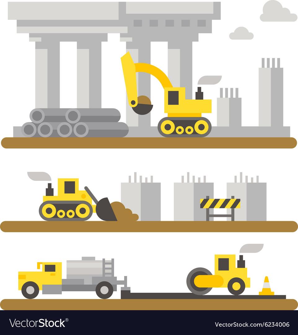 Construction site machineries flat design