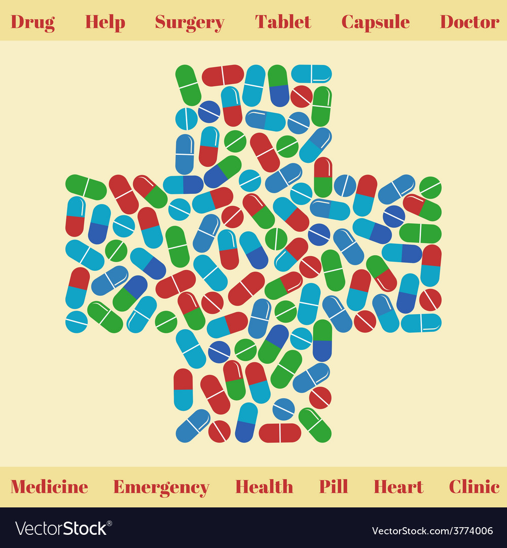 Cross shape with medical pills Medical concept