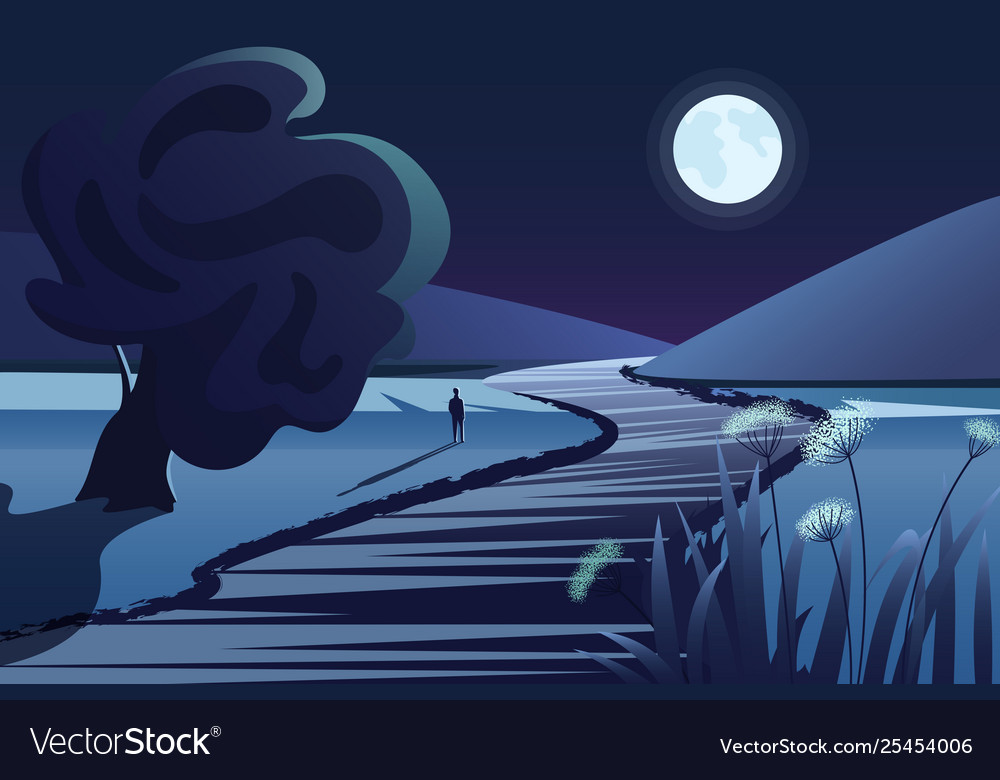 Dark mountains river or lake moon lonely person