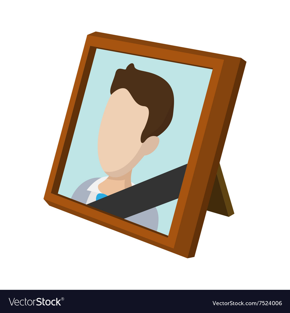 Frame with mourning ribbon cartoon icon vector image