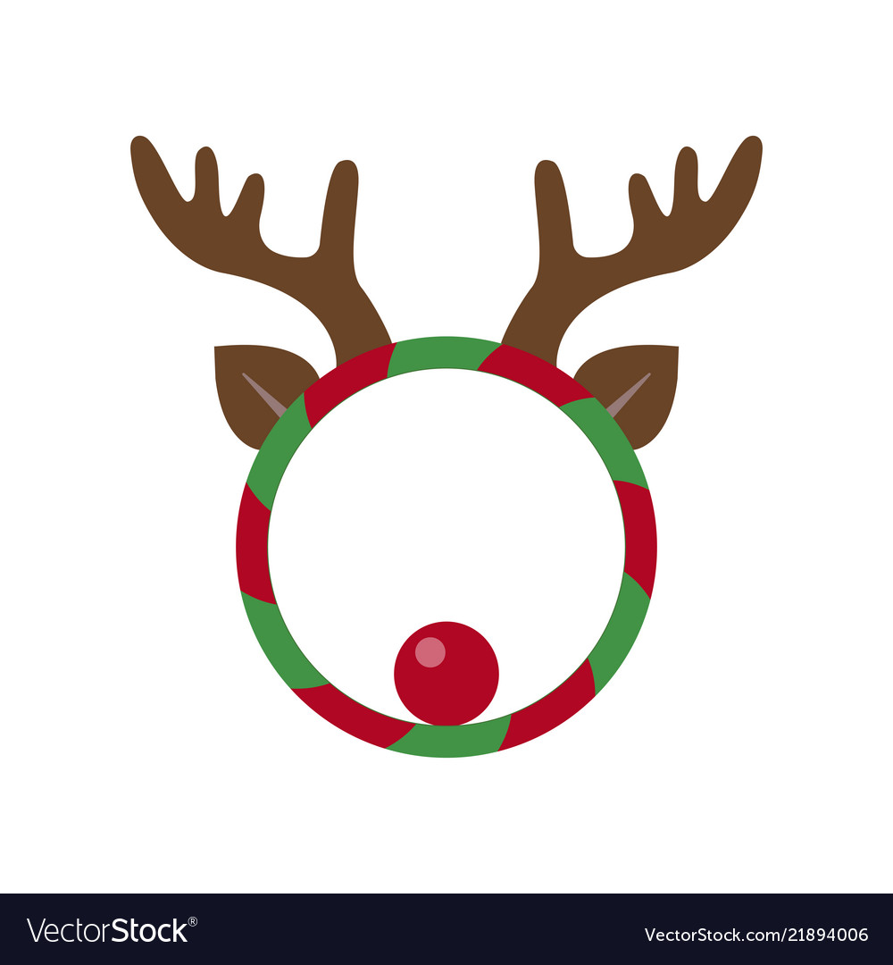 Funny Christmas Wreath With Deer Horns Royalty Free Vector