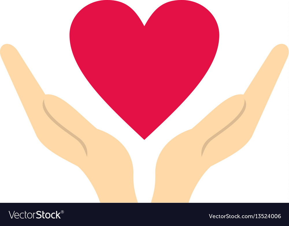 Hands holding heart icon flat style