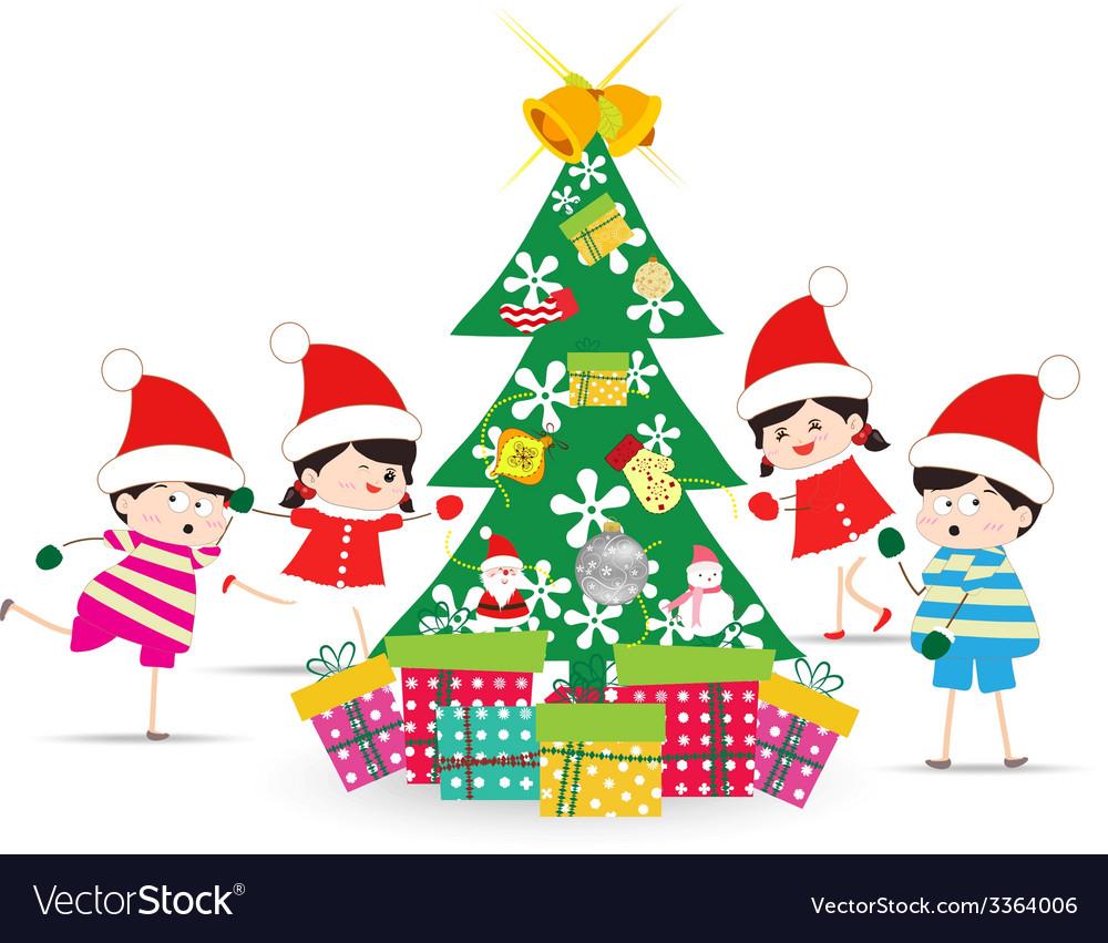 Happy Kids Decorating A Christmas Tree Royalty Free Vector Christmas tree cartoon kids illustrations & vectors. vectorstock