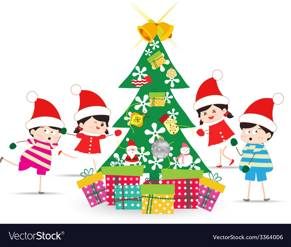 Happy Kids Decorating A Christmas Tree With Vector Image
