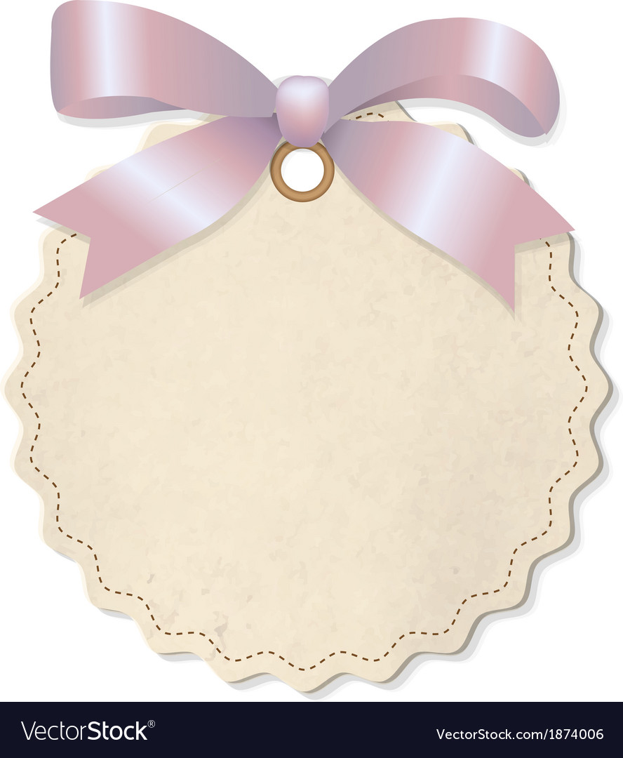 Pastel Label With Pink Ribbon vector image