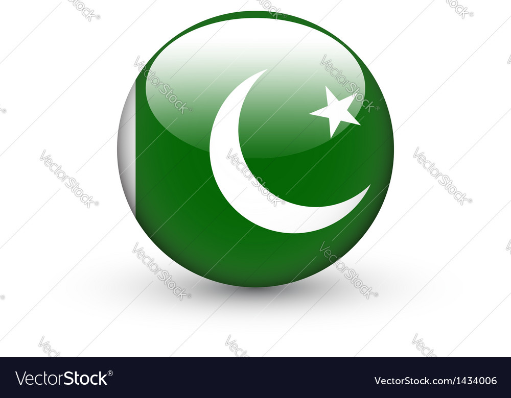 Round icon with national flag of Pakistan