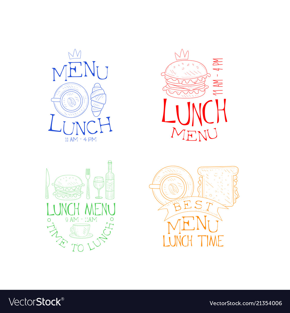 Set of 4 lunch emblems in different colors