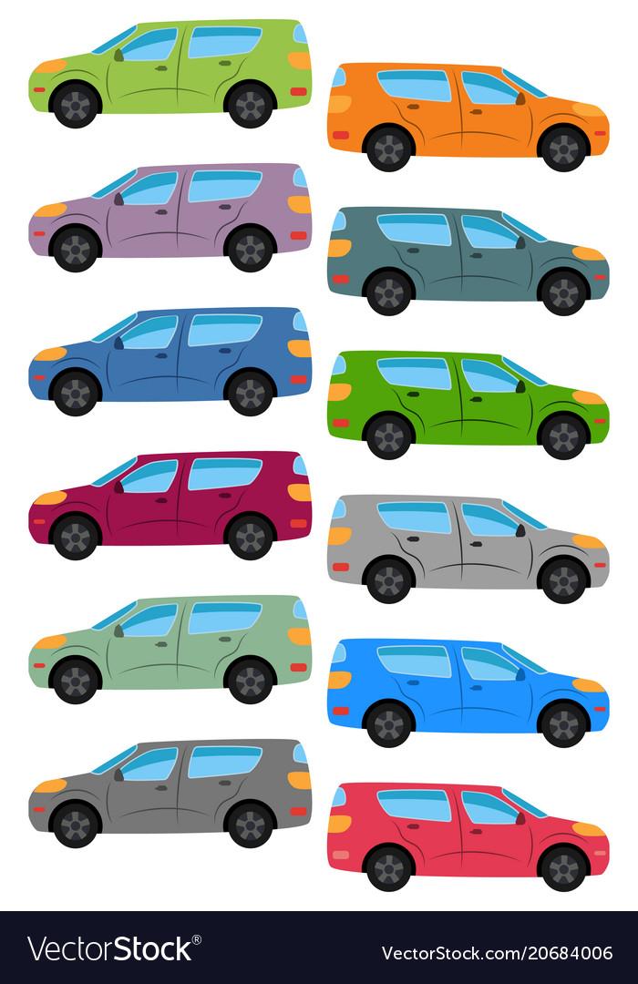 Set of multicolored car