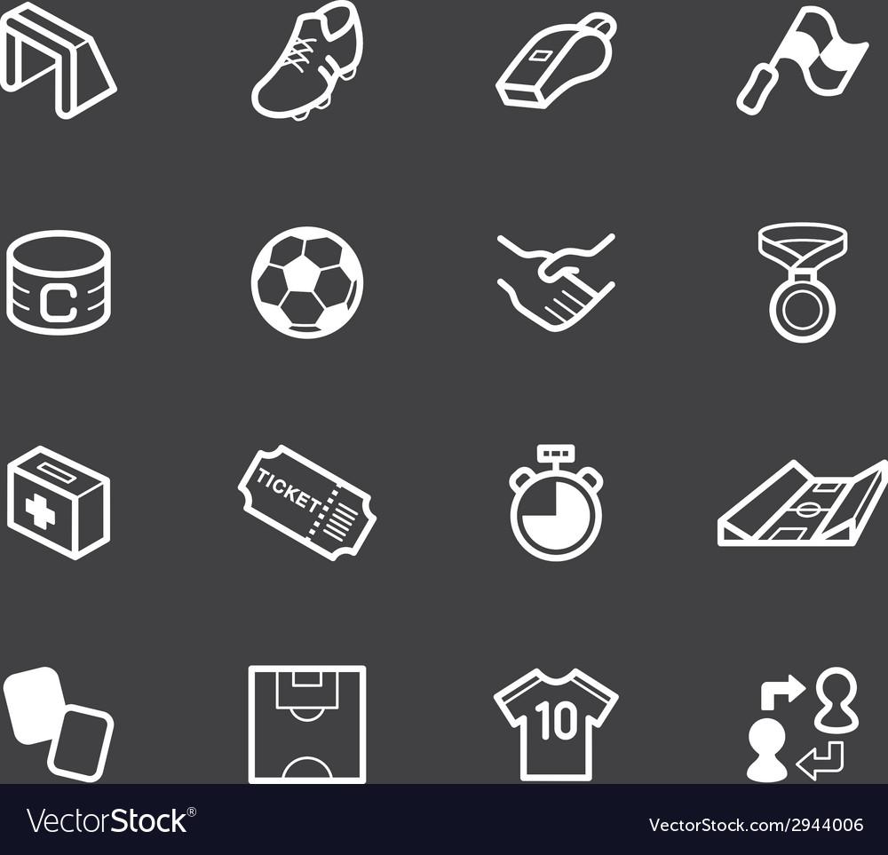 Soccer element white icon set on black background