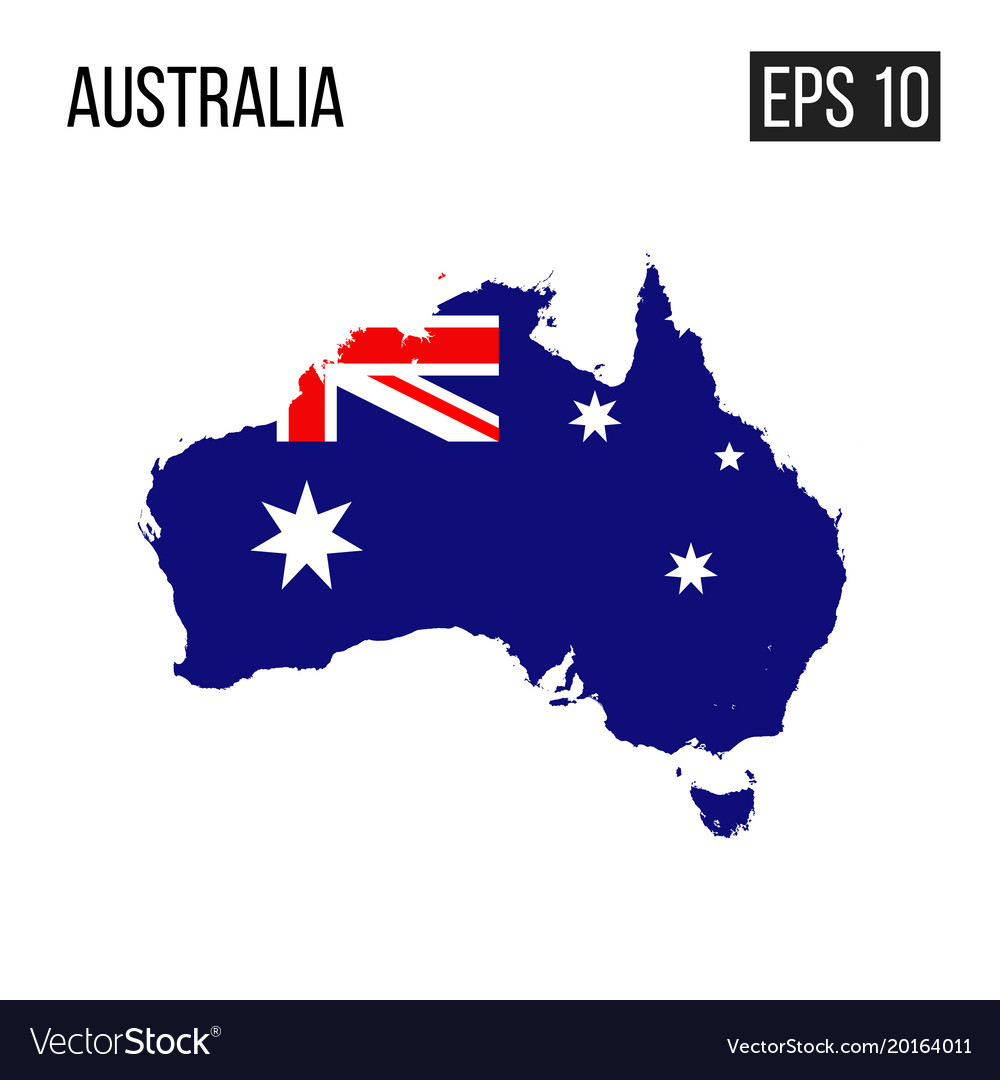 Australia Map With Flag.Australia Map Border With Flag Eps10