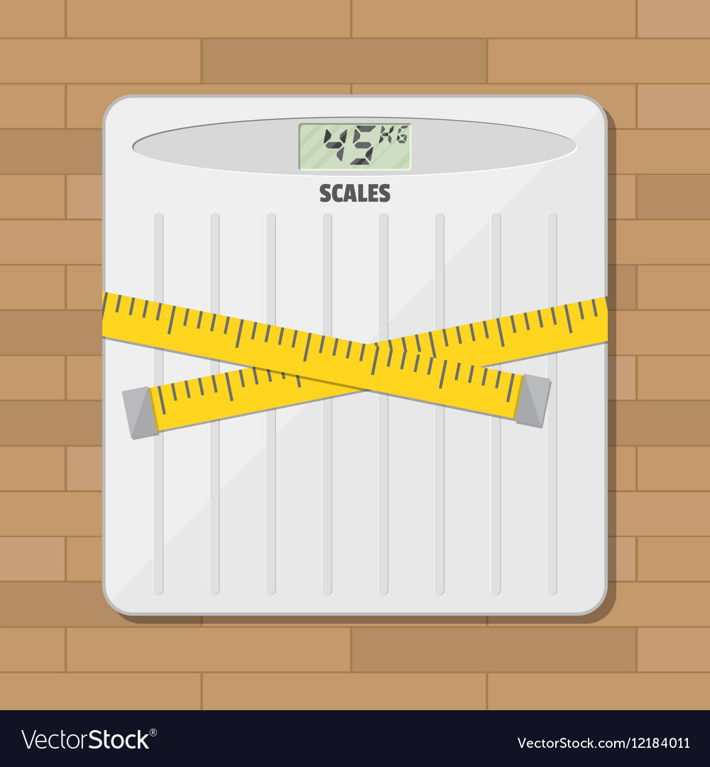 Bathroom floor weight scale and measuring tape