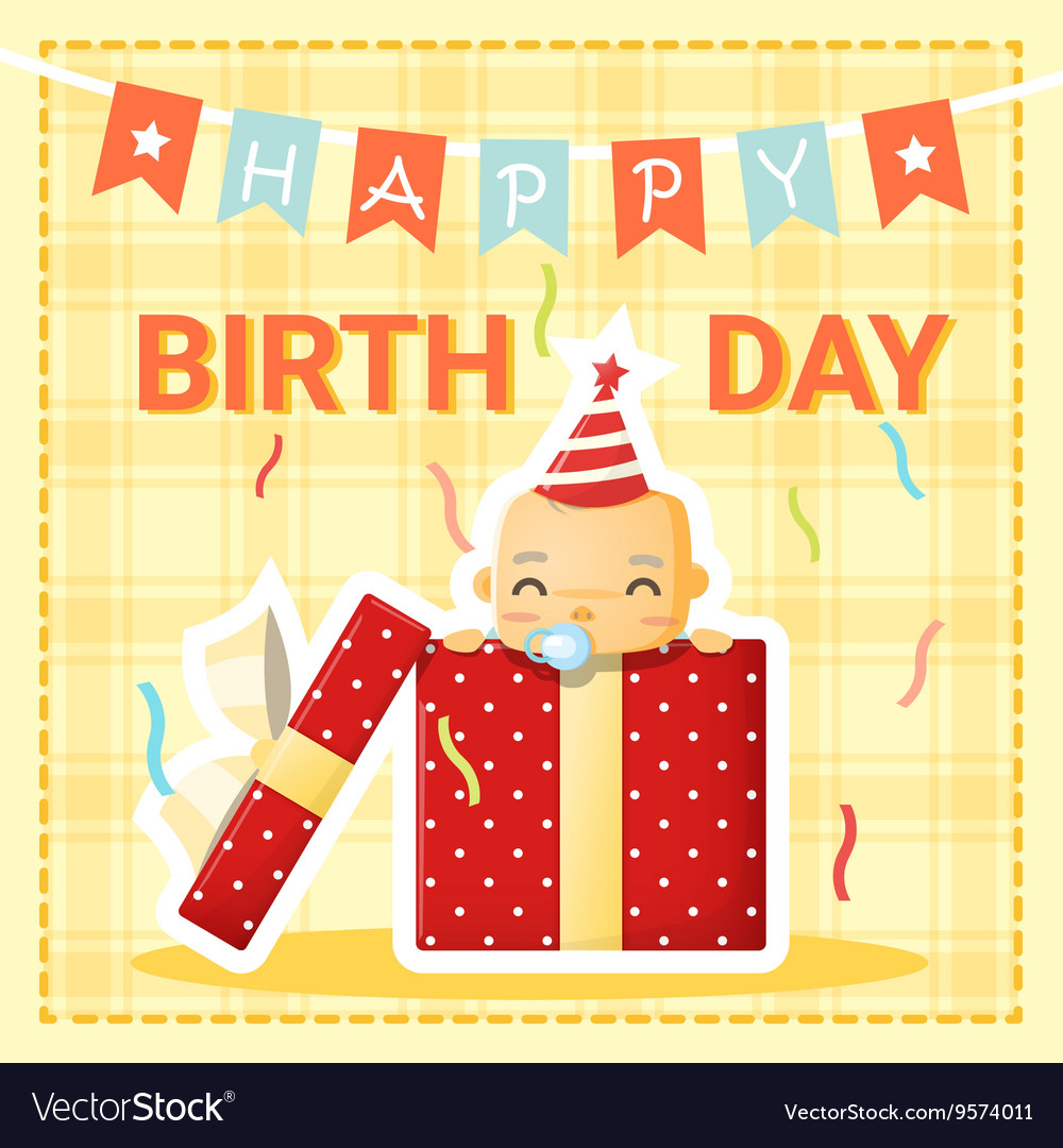 Surprising Happy Birthday Card With Cute Baby 1 Royalty Free Vector Funny Birthday Cards Online Overcheapnameinfo