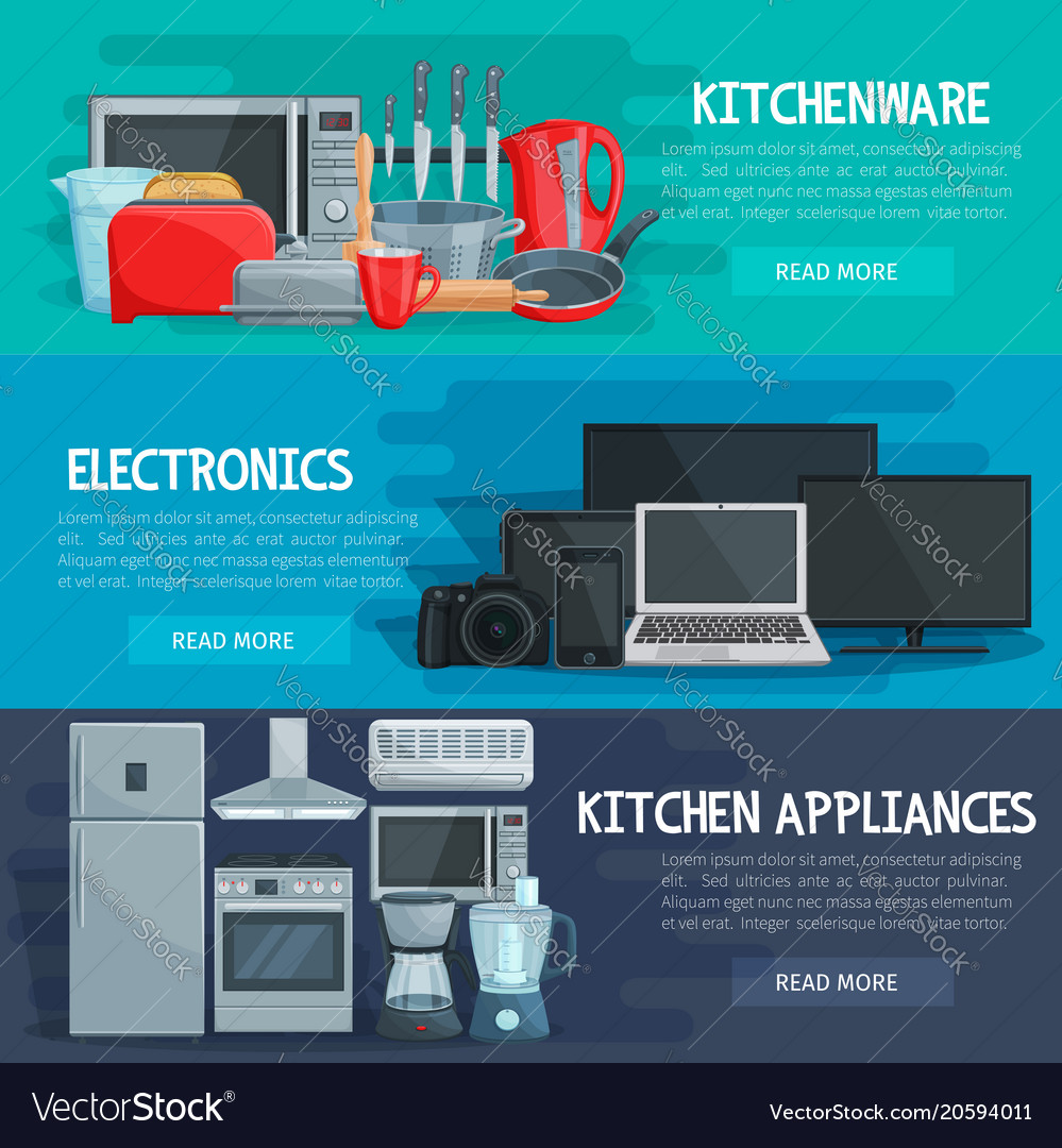 Home Appliance Banner Of Kitchenware Electronics Vector Image