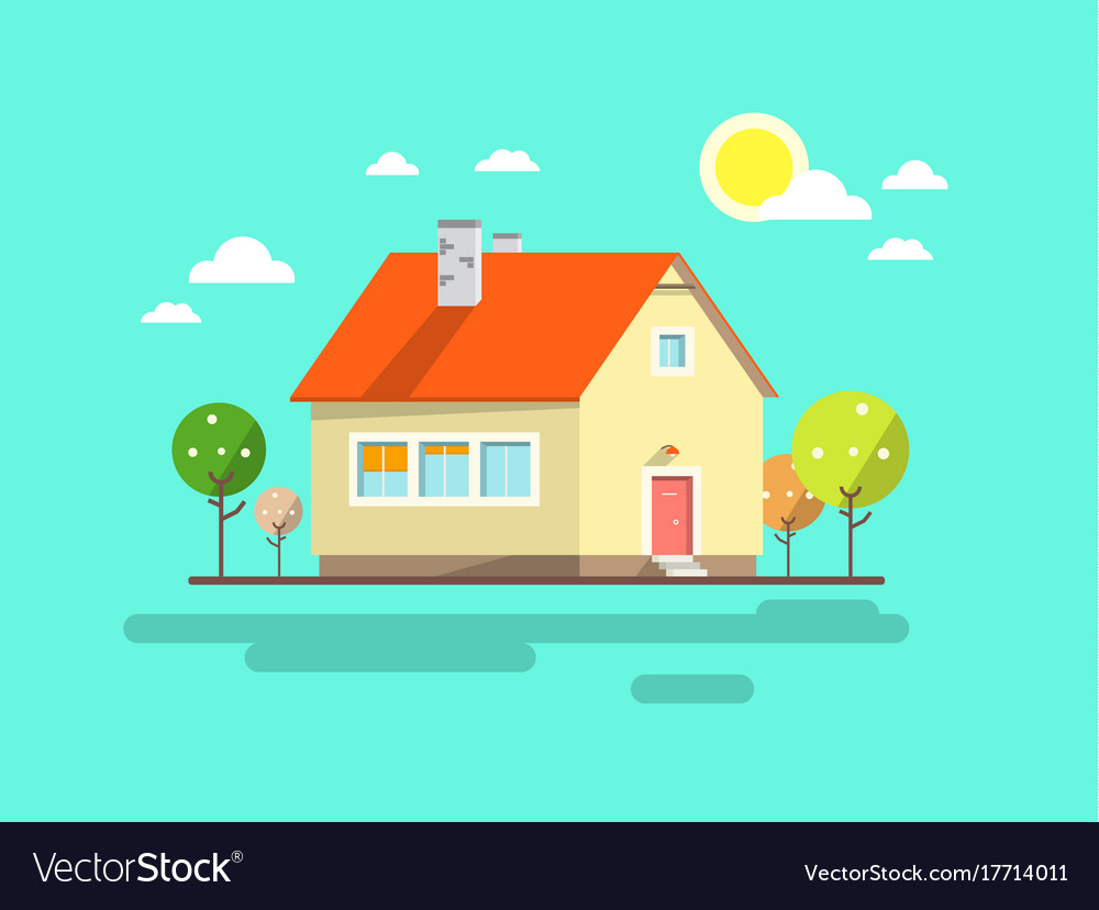 House flat design urban landscape abstract