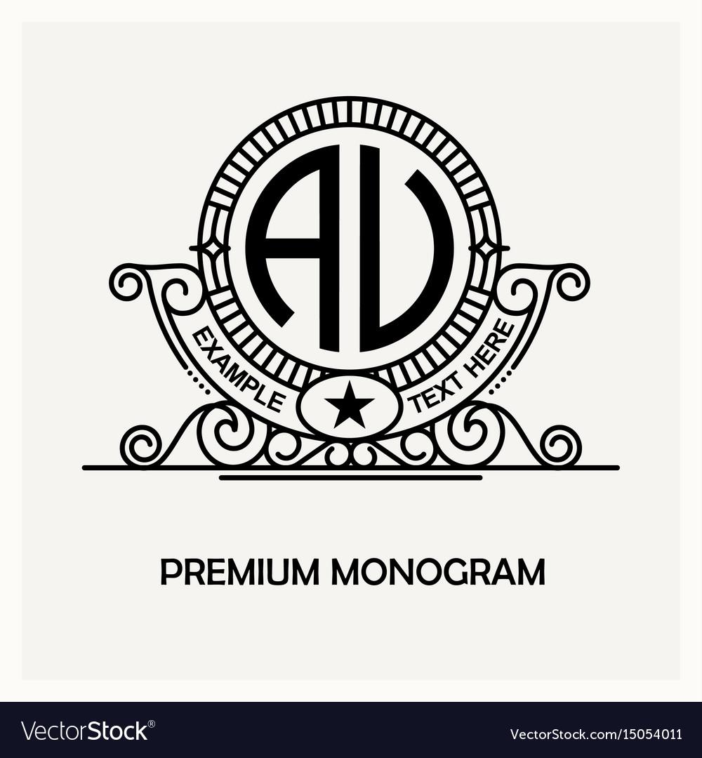 Modern emblem badge monogram template luxury