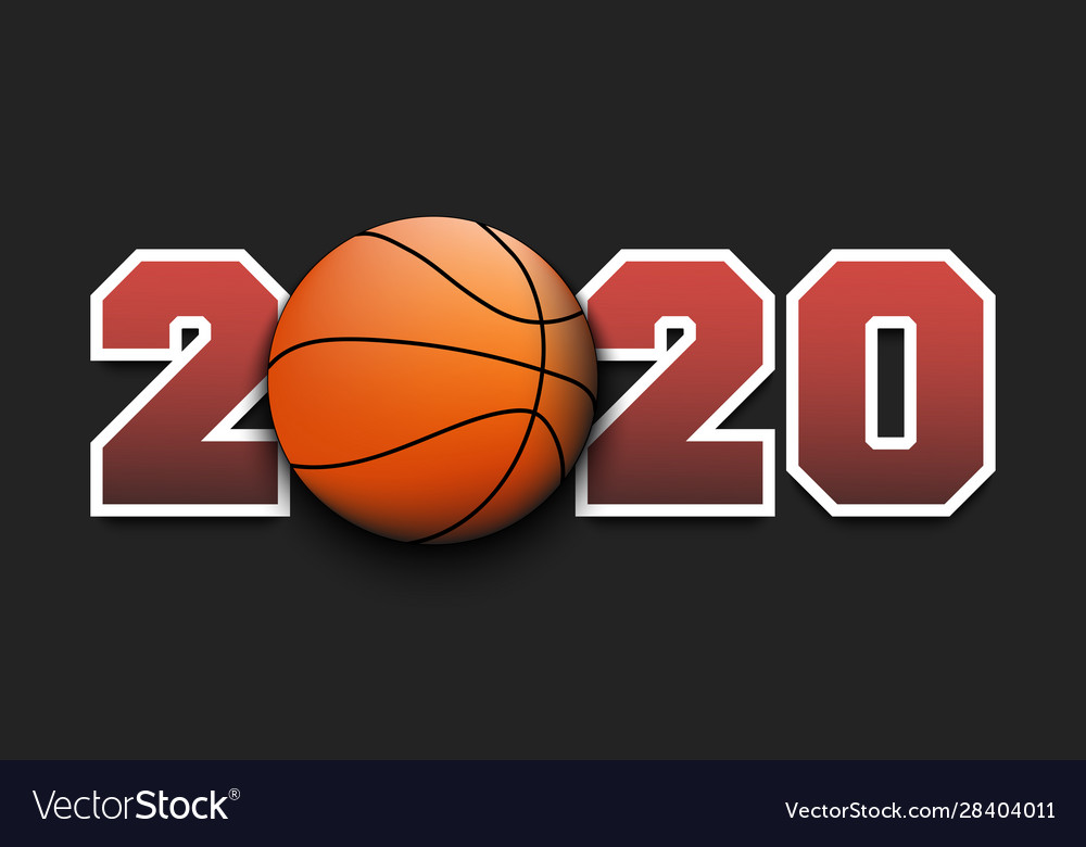 New year numbers 2020 and basketball ball