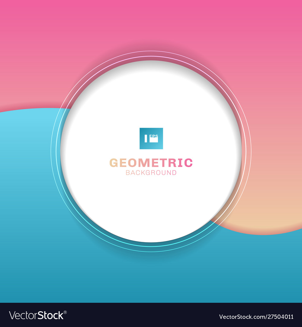 Template geometric white circle on wave blue and