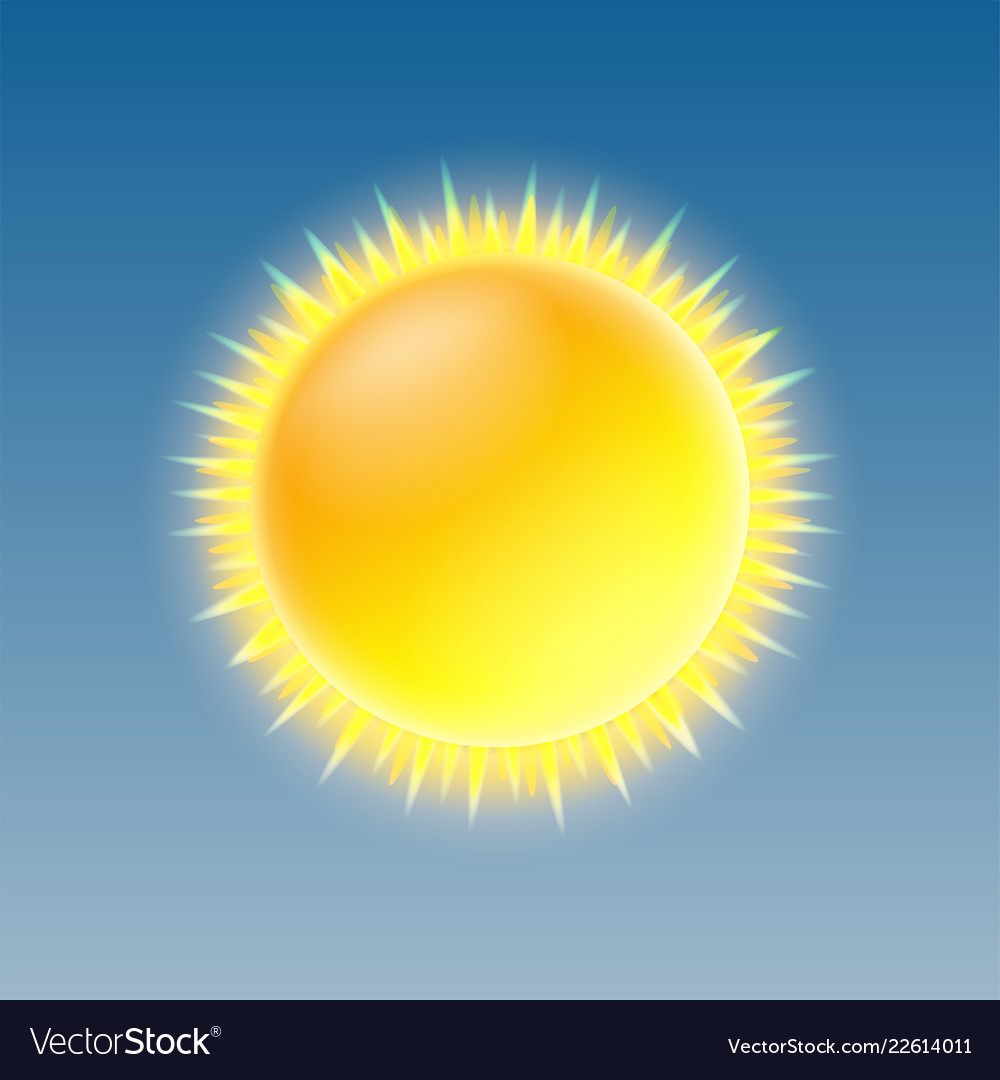 Weather icon with shiny sun on blue sky