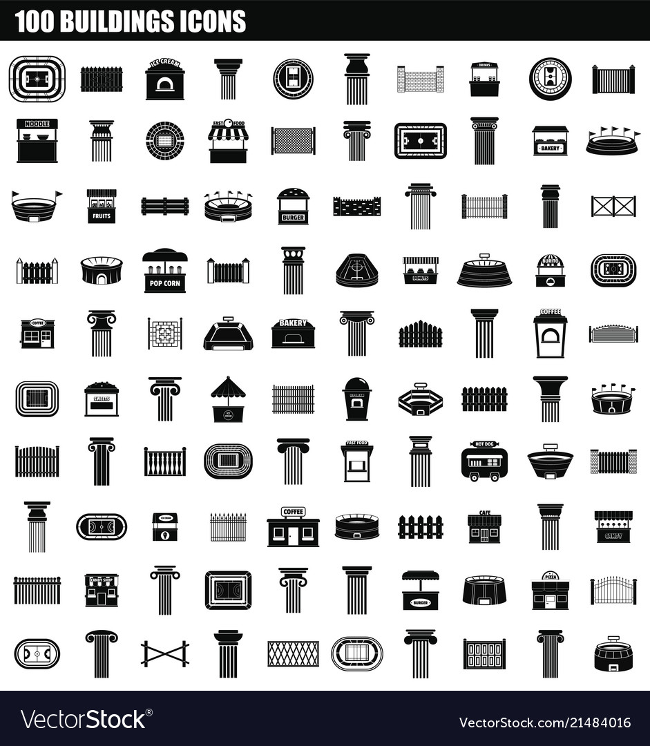 100 buildings icon set simple style