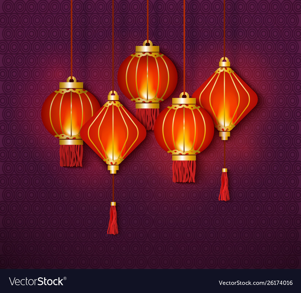 chinese lantern and Vector Image