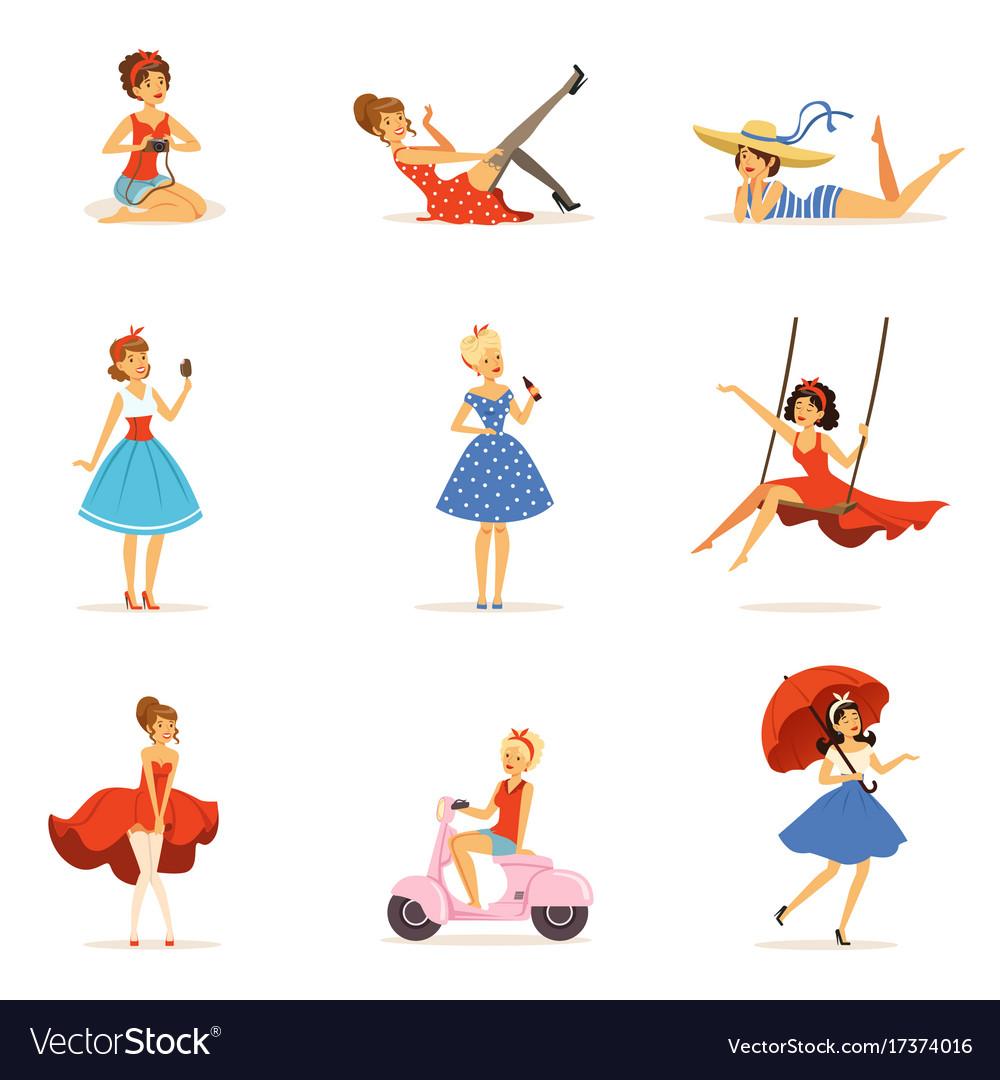Beautiful retro girls characters set young women