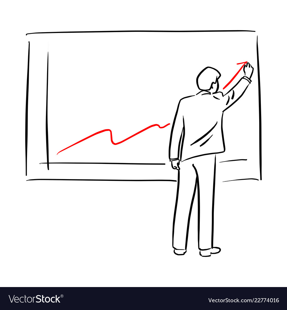 Businessman in suit drawing chart of financial