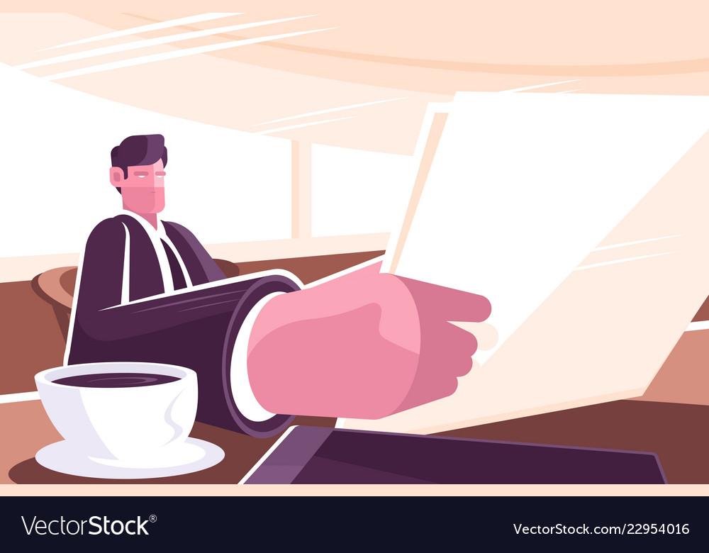 Businessman reading news in morning press