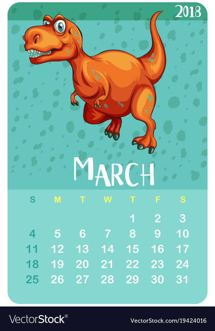 calendar template for march with t rex royalty free vector