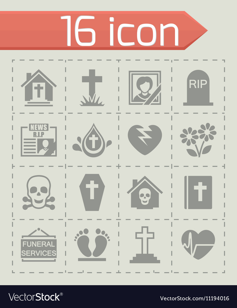 Funeral icon set vector image