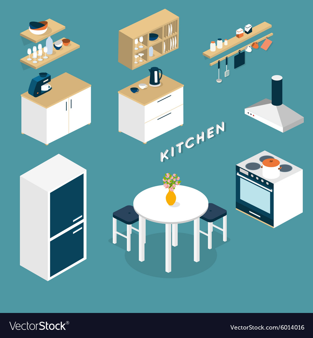 Isometric kitchen interior objects - 4d Royalty Free Vector