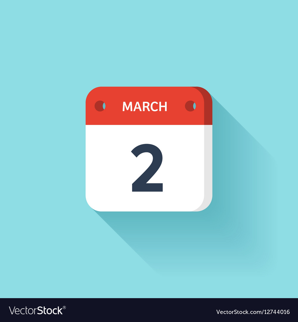 March 2 Isometric Calendar Icon With Shadow