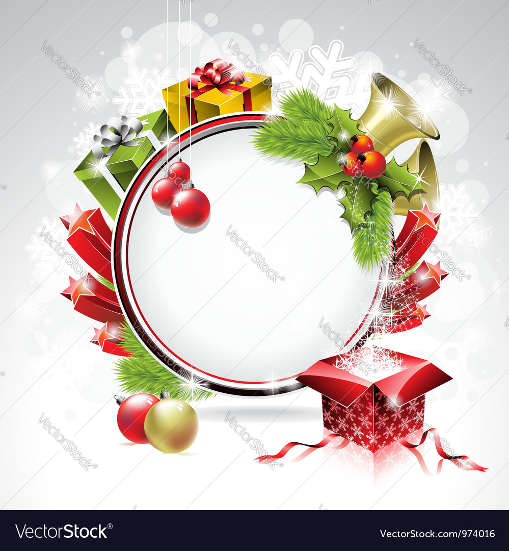 On a Christmas theme with gift box vector image