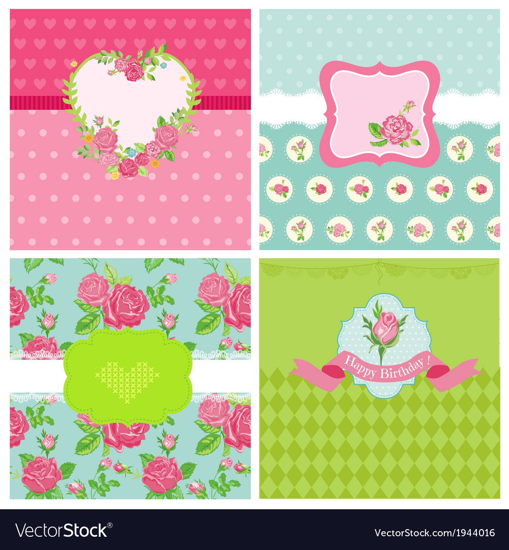 Set of Floral Card - Floral Shabby Chic Theme