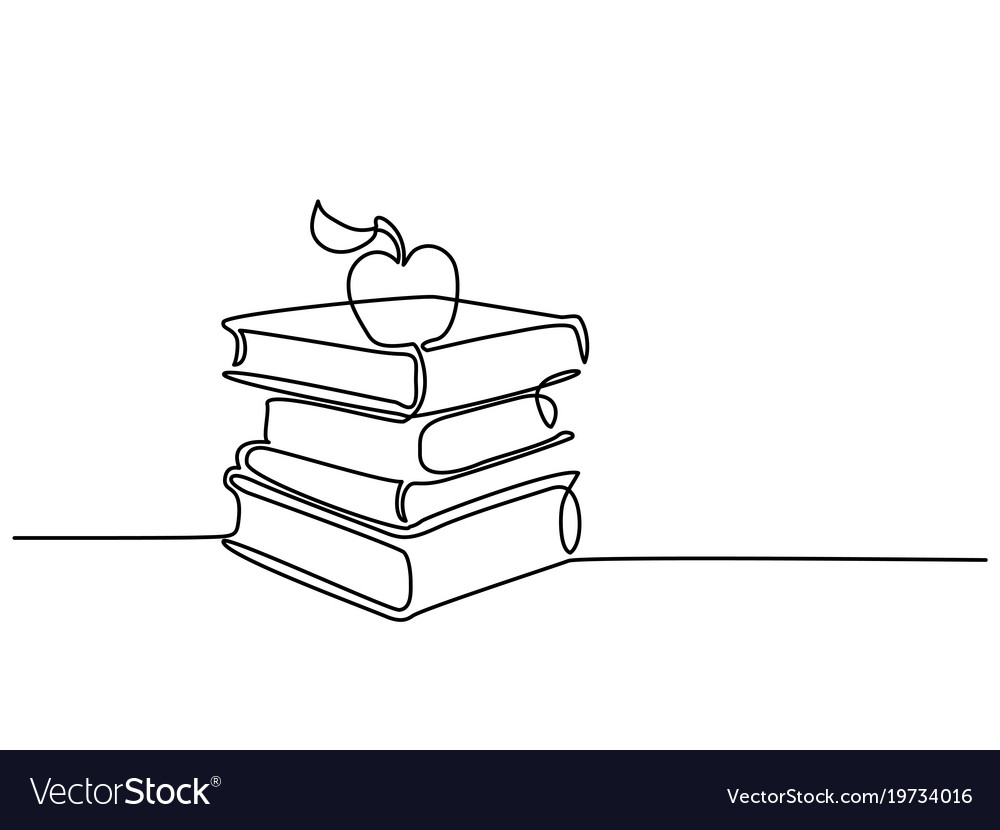 Stack Of Books With Apple Royalty Free Vector Image