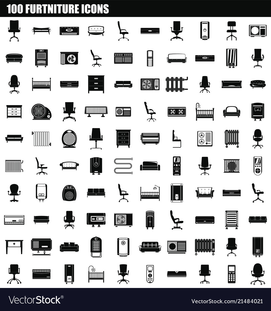 100 furniture icon set simple style